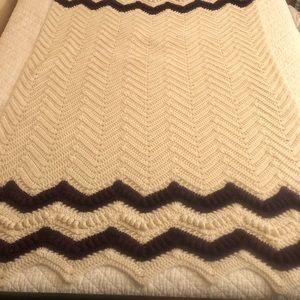 Handmade Bedding - Handmade Deep Purple & Ivory Throw